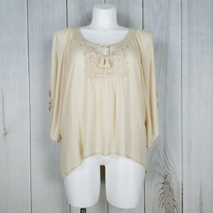 Maurices Ivory Boho Peasant Blouse Cold Shoulder